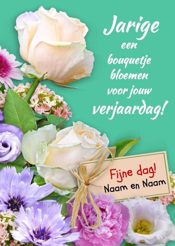 Verjaardagskaarten - Verjaardagskaart Boeketje bloemen met witte rozen
