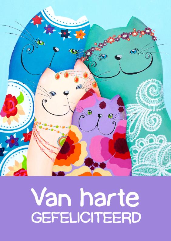Verjaardagskaarten - Verjaardagskaart Bohemian katten
