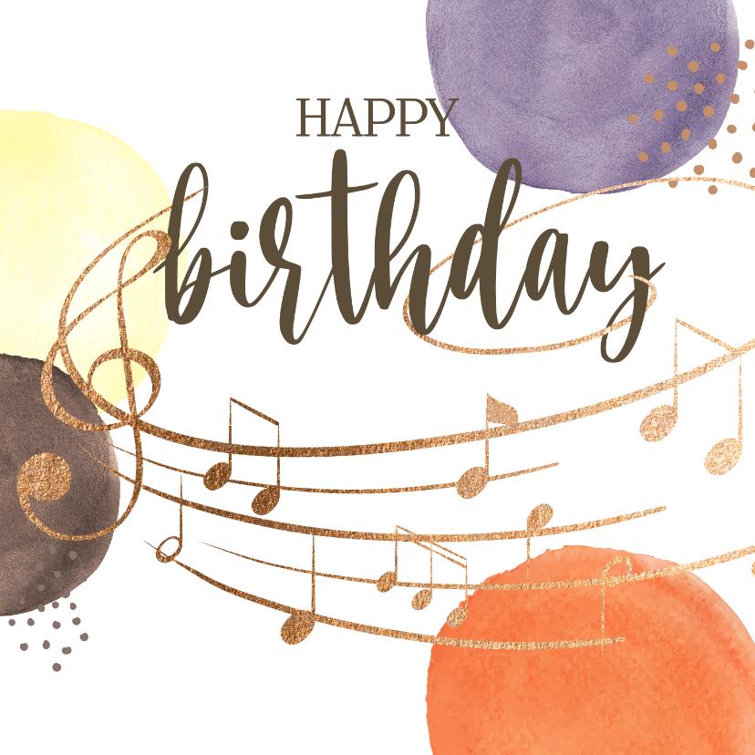 Verjaardagskaarten - Verjaardagskaart - Bollen met muzieknoten
