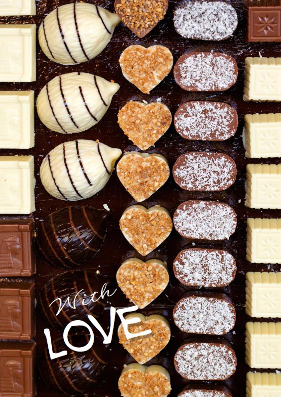 Verjaardagskaarten - Verjaardagskaart bonbons 2 - with love