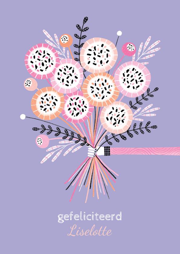 Verjaardagskaarten - Verjaardagskaart bos bloemen paars