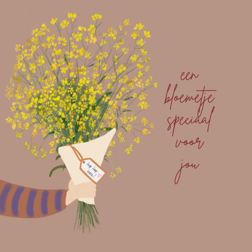 Verjaardagskaarten - Verjaardagskaart bos gele bloemen