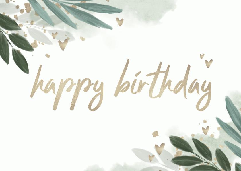 Verjaardagskaarten - Verjaardagskaart botanisch met gouden hartjes