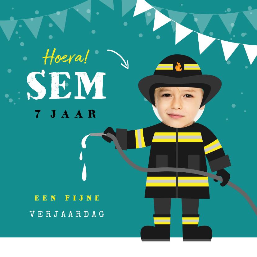 Verjaardagskaarten - Verjaardagskaart brandweer brandweerman foto