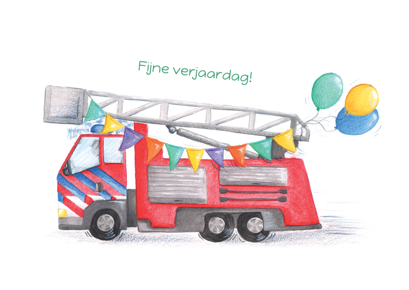 Verjaardagskaarten - Verjaardagskaart brandweer