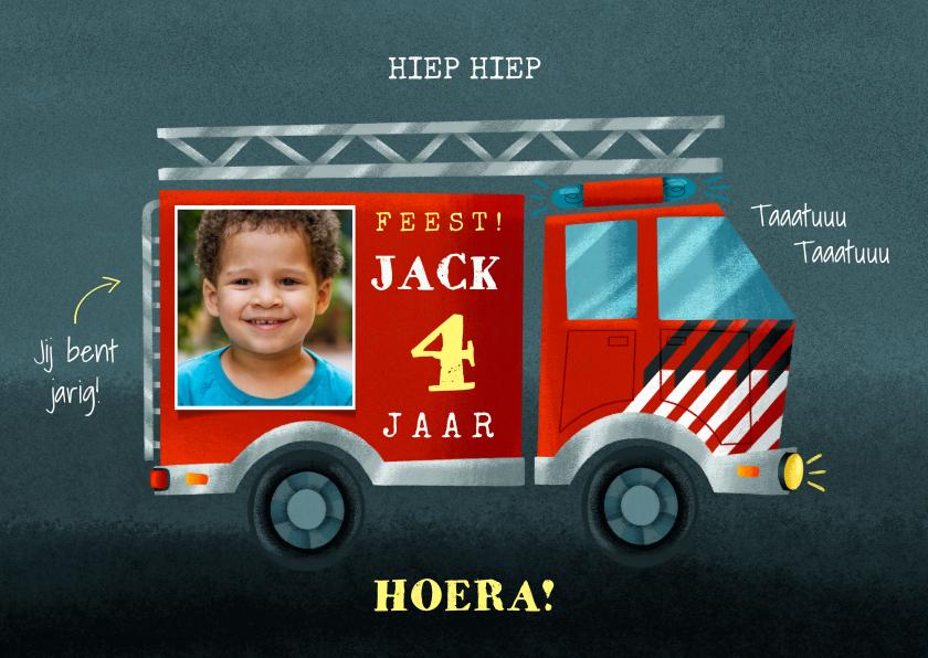 Verjaardagskaarten - Verjaardagskaart brandweerauto, foto en aanpasbare leeftijd