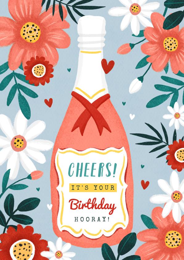 Verjaardagskaarten - Verjaardagskaart champagne wijn bloemen hartjes