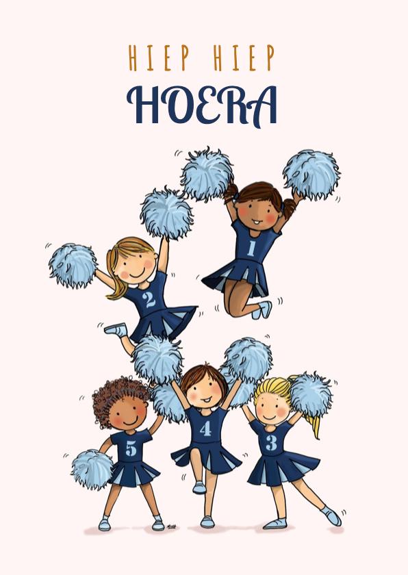 Verjaardagskaarten - Verjaardagskaart cheerleaders blauw