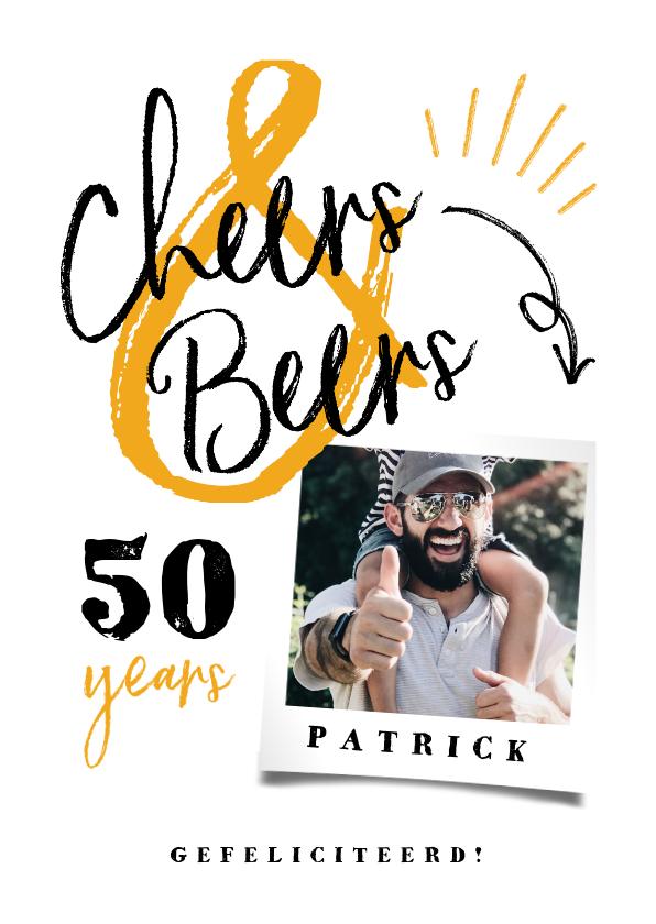 Verjaardagskaarten - Verjaardagskaart 'cheers & beers' hip met foto