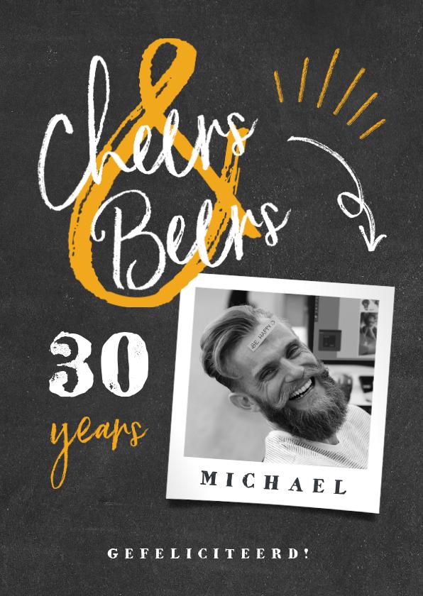 Verjaardagskaarten - Verjaardagskaart 'cheers & beers' krijtbord met foto