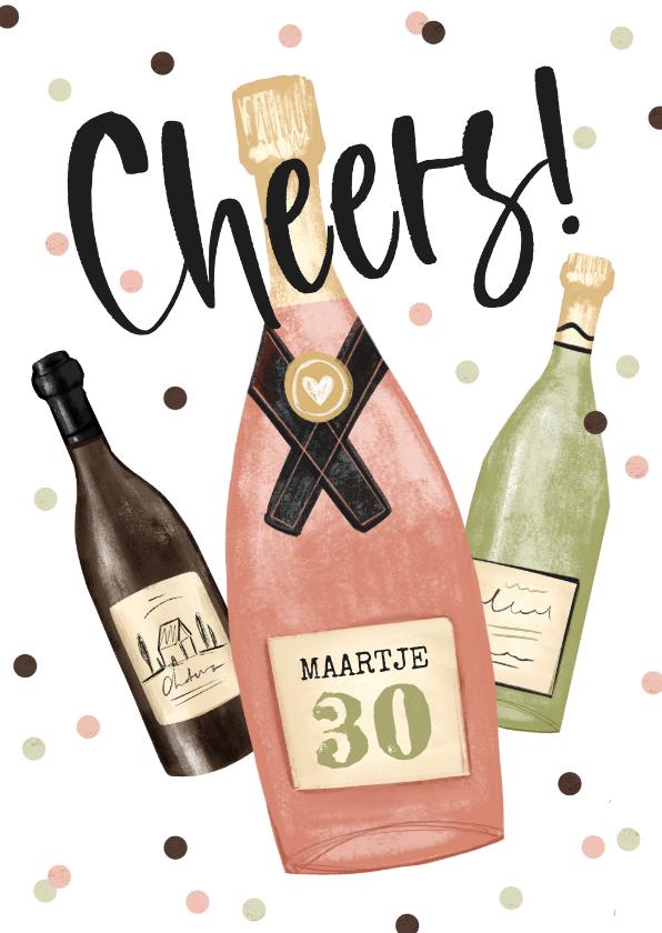 Verjaardagskaarten - Verjaardagskaart cheers champagne wijn confetti