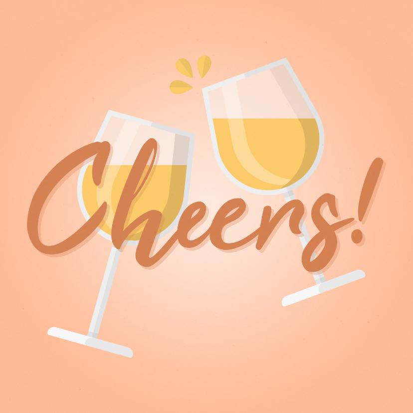 Verjaardagskaarten - Verjaardagskaart Cheers! met proostende wijnglazen