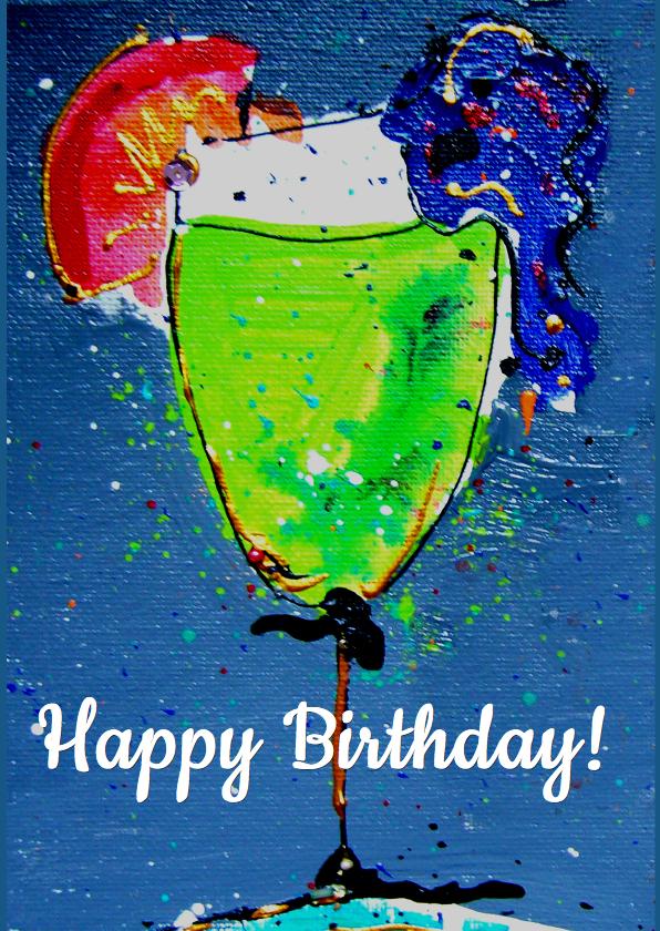 Verjaardagskaarten - Verjaardagskaart cocktail groen