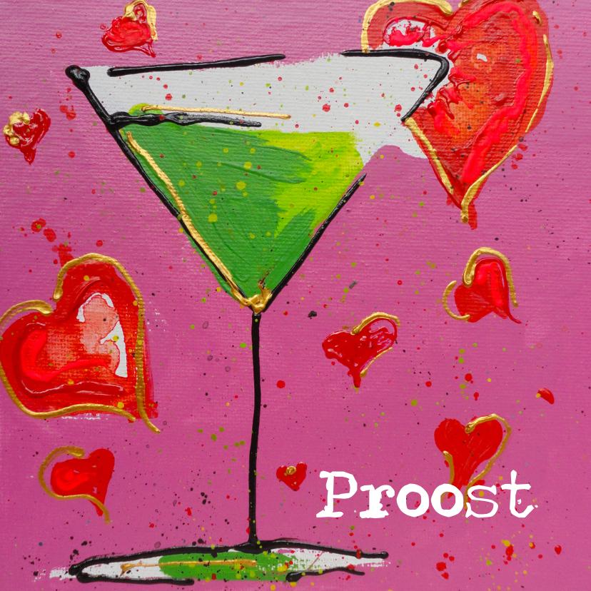 Verjaardagskaarten - Verjaardagskaart cocktail hartje