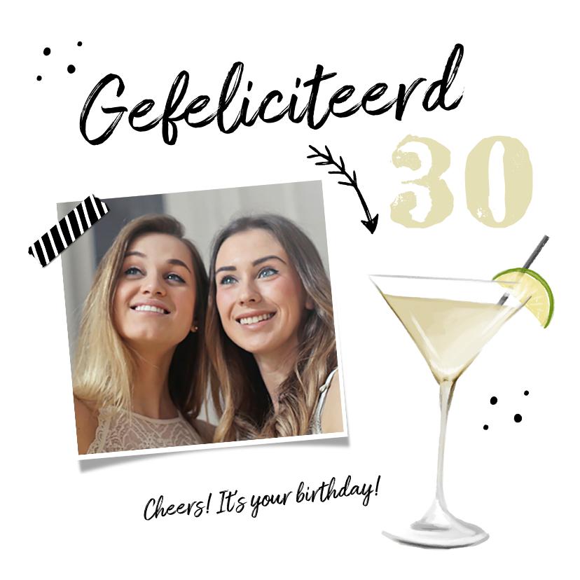 Verjaardagskaarten - Verjaardagskaart cocktail hip foto en pijltje