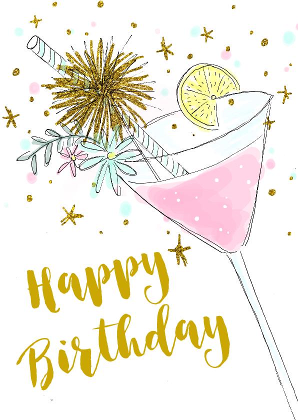 Verjaardagskaarten - Verjaardagskaart cocktail hip vrouw