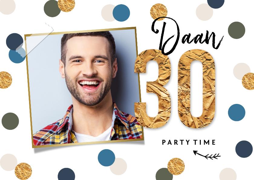 Verjaardagskaarten - Verjaardagskaart confetti goud feest 30 foto