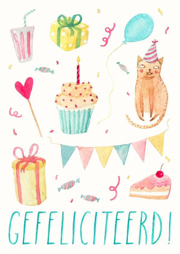 Verjaardagskaarten - Verjaardagskaart confetti RG