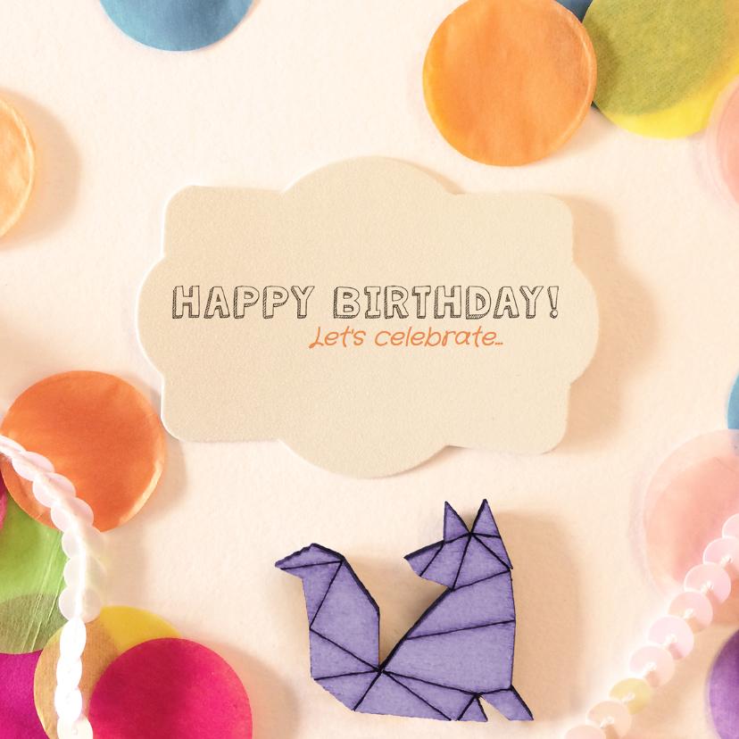 Verjaardagskaarten - verjaardagskaart confetti vos