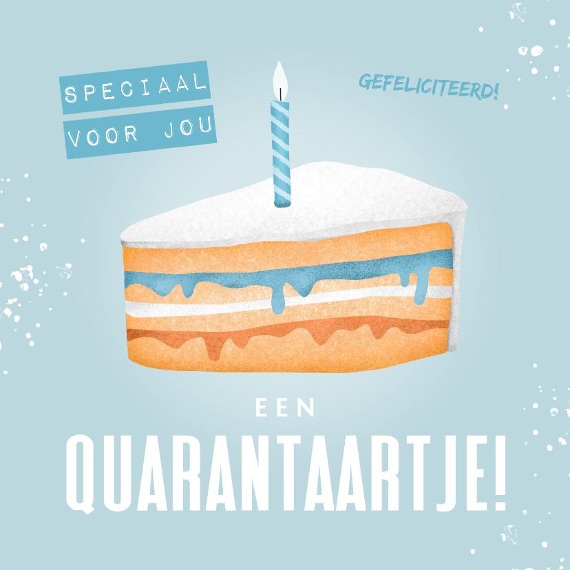 Verjaardagskaarten - Verjaardagskaart corona taartje quarantaine feestje man