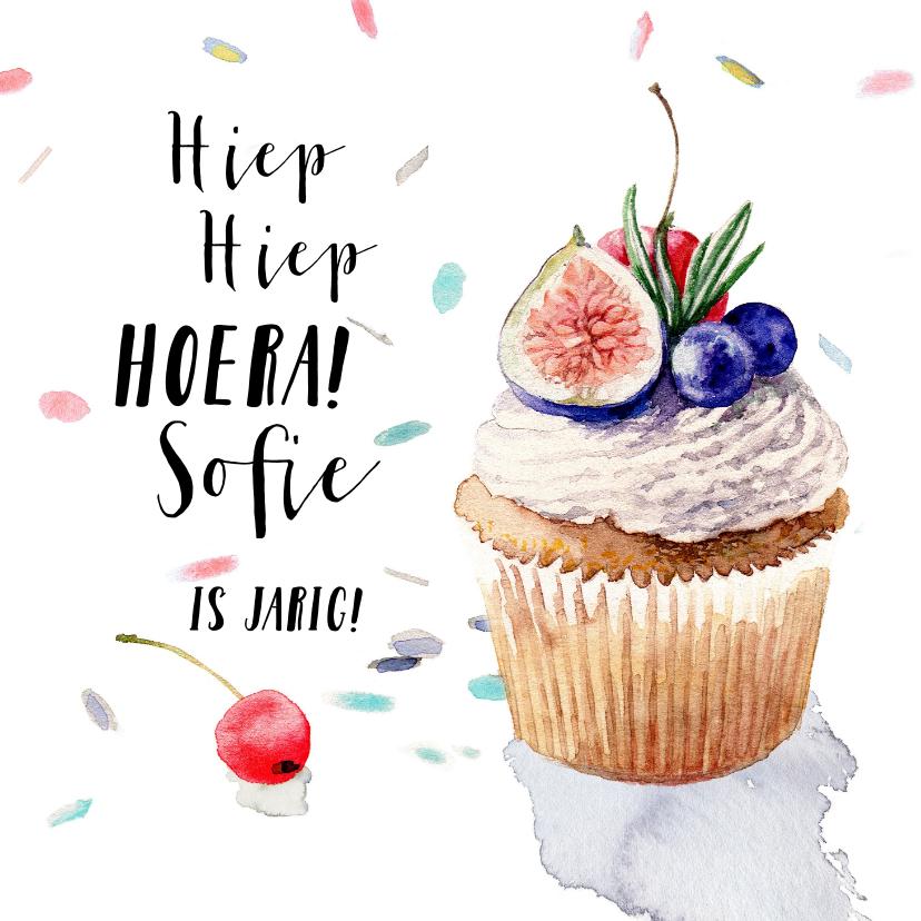Verjaardagskaarten - Verjaardagskaart - cupcake met fruit