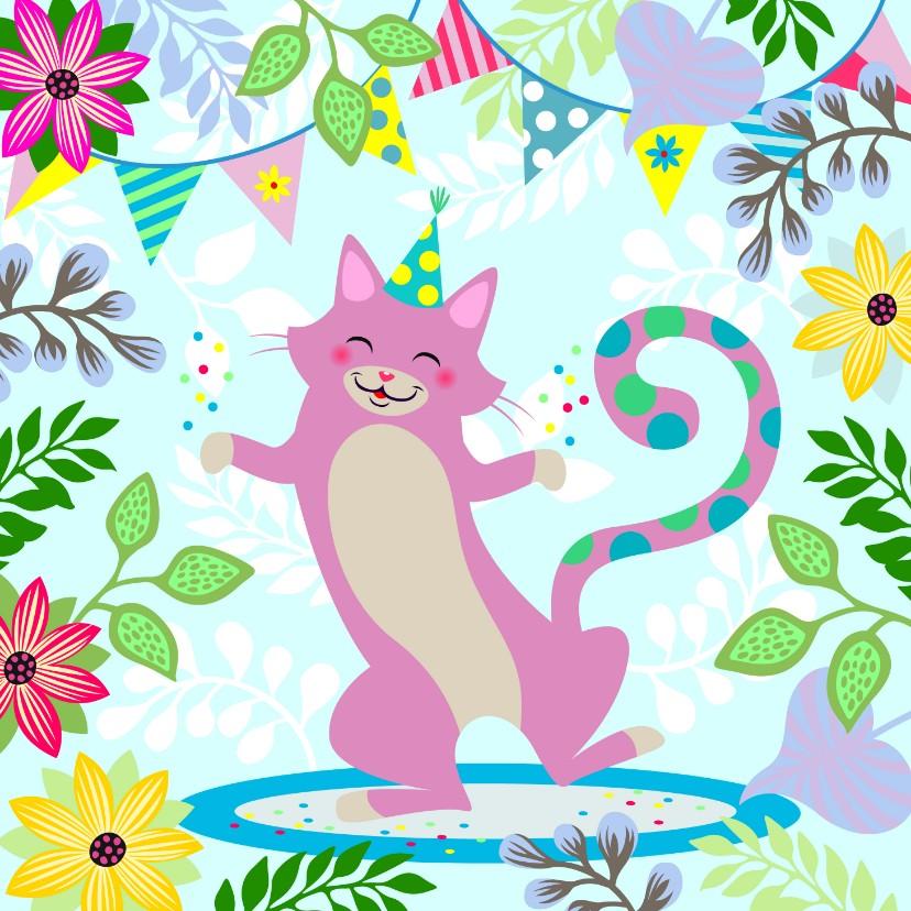 Verjaardagskaarten - Verjaardagskaart dansende kat met confetti