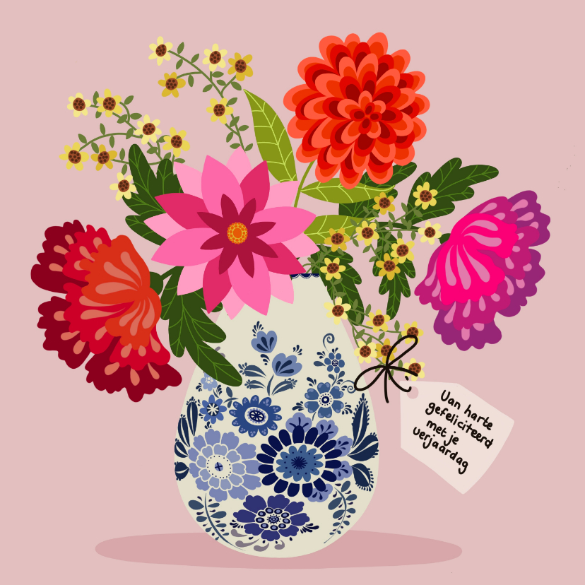 Verjaardagskaarten - Verjaardagskaart - Delfts blauwe vaas met bloemen
