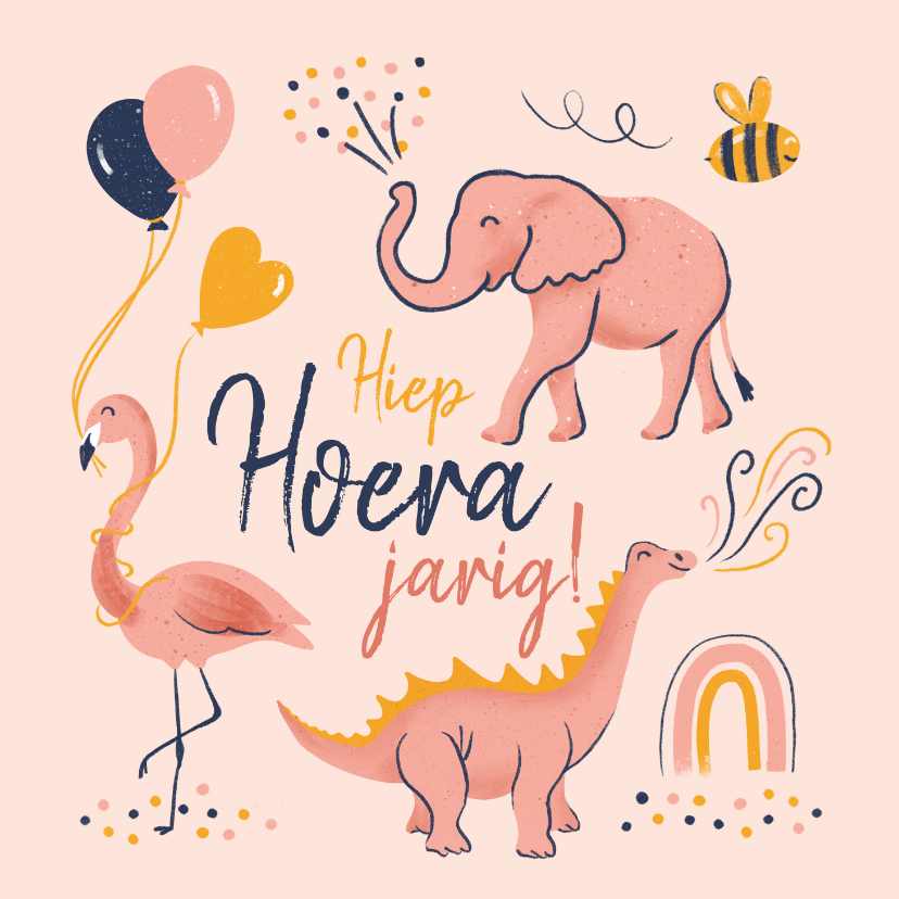 Verjaardagskaarten - Verjaardagskaart dino flamingo olifant