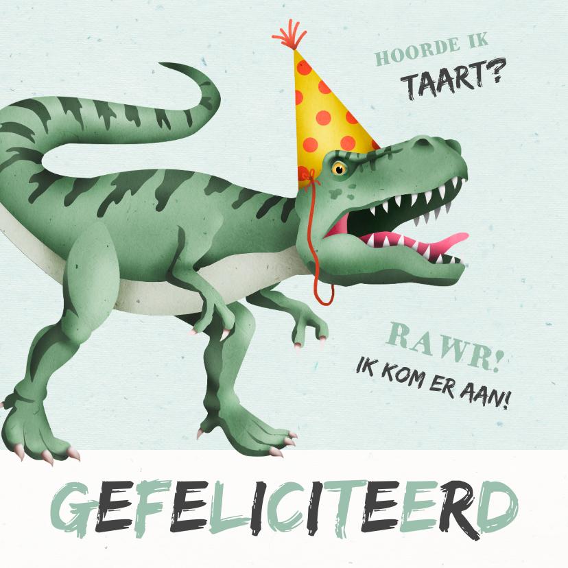 Verjaardagskaarten - Verjaardagskaart dino t-rex taart stoer