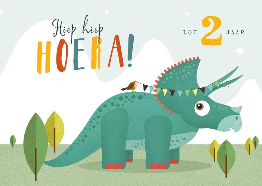 Verjaardagskaarten - Verjaardagskaart dino triceratops vogel slinger hoera