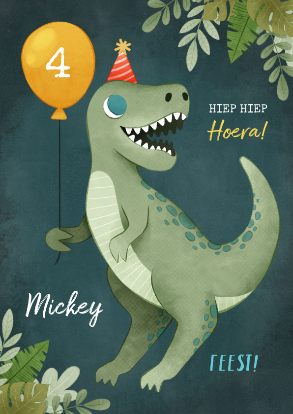 Verjaardagskaarten - Verjaardagskaart dinosaurus, ballon, plantjes en feesthoedje