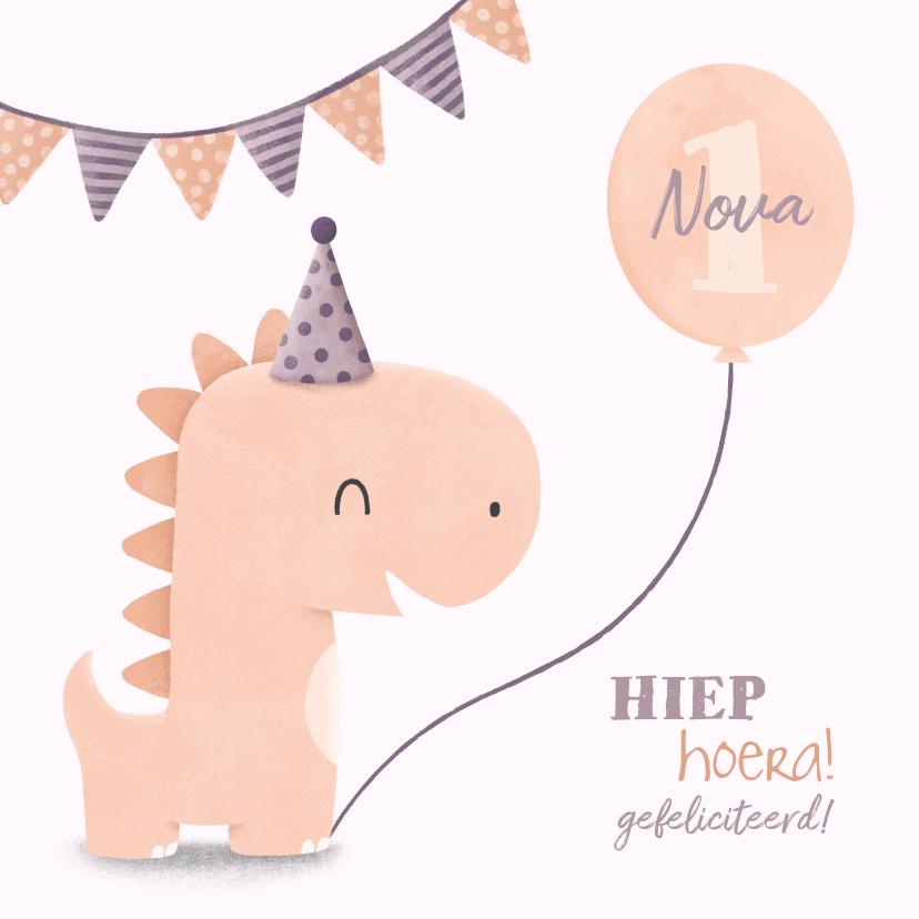 Verjaardagskaarten - Verjaardagskaart dinosaurus met hoedje en vlagjes