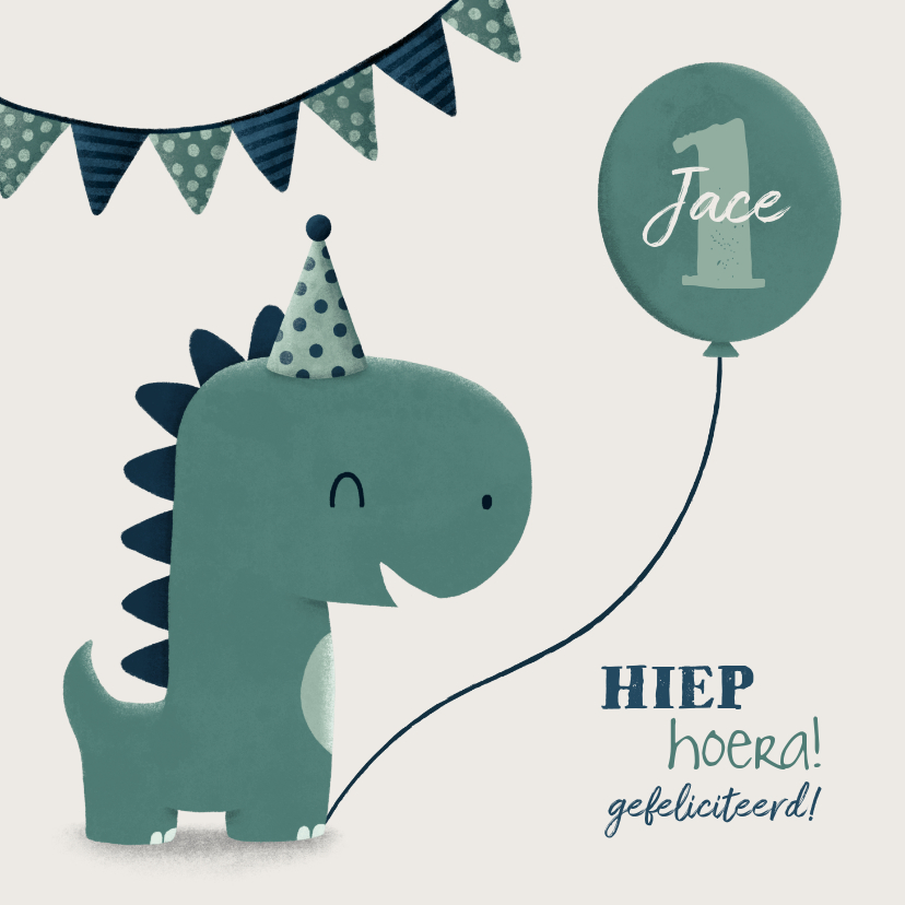 Verjaardagskaarten - Verjaardagskaart dinosaurus met vlagjes en hoedje