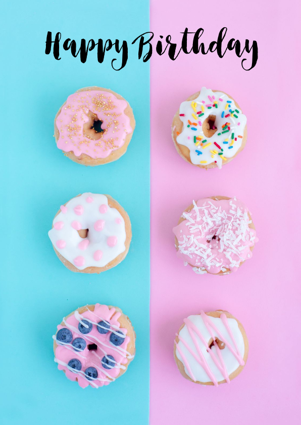 Verjaardagskaarten - Verjaardagskaart donut