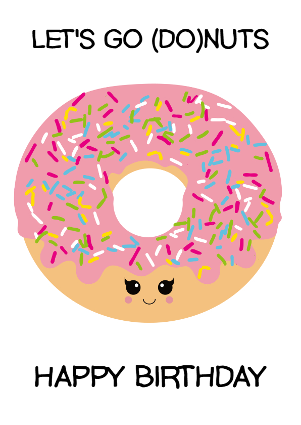 Verjaardagskaarten - Verjaardagskaart donuts