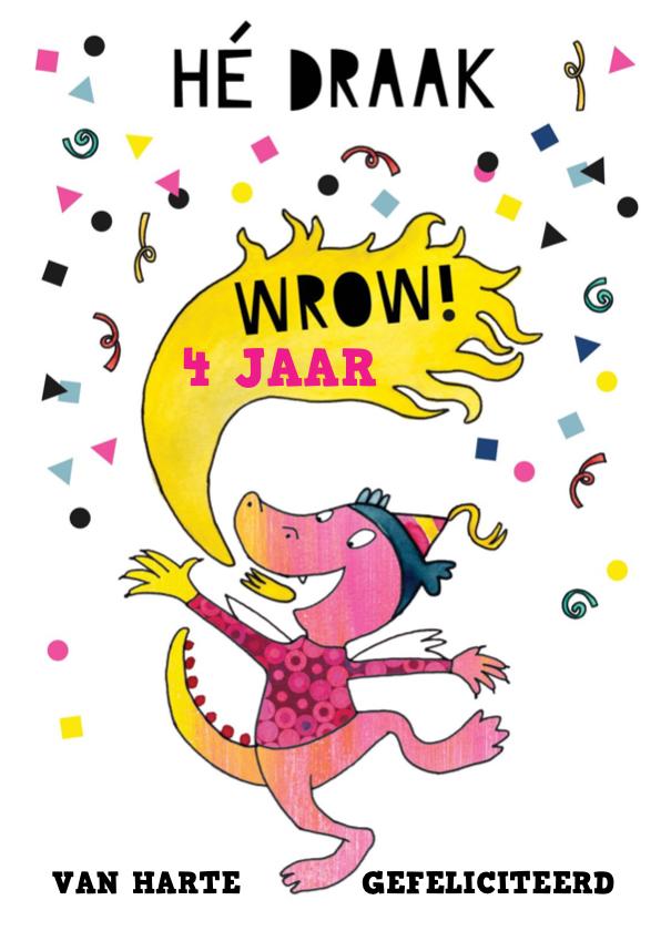 Verjaardagskaarten - Verjaardagskaart draak meisje illustratie