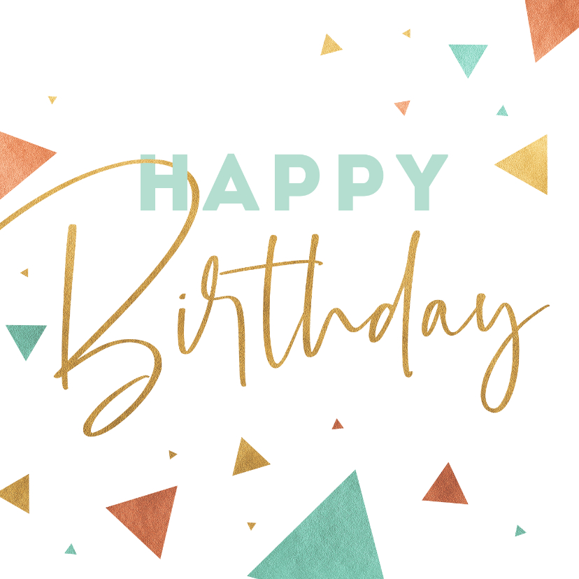 Verjaardagskaarten - Verjaardagskaart driehoek knallen