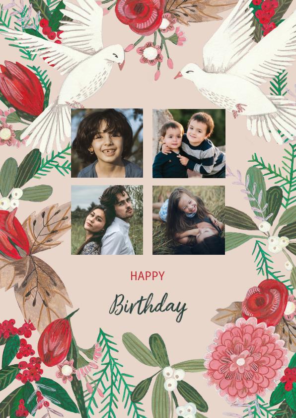 Verjaardagskaarten - Verjaardagskaart Duiven en Bloemen