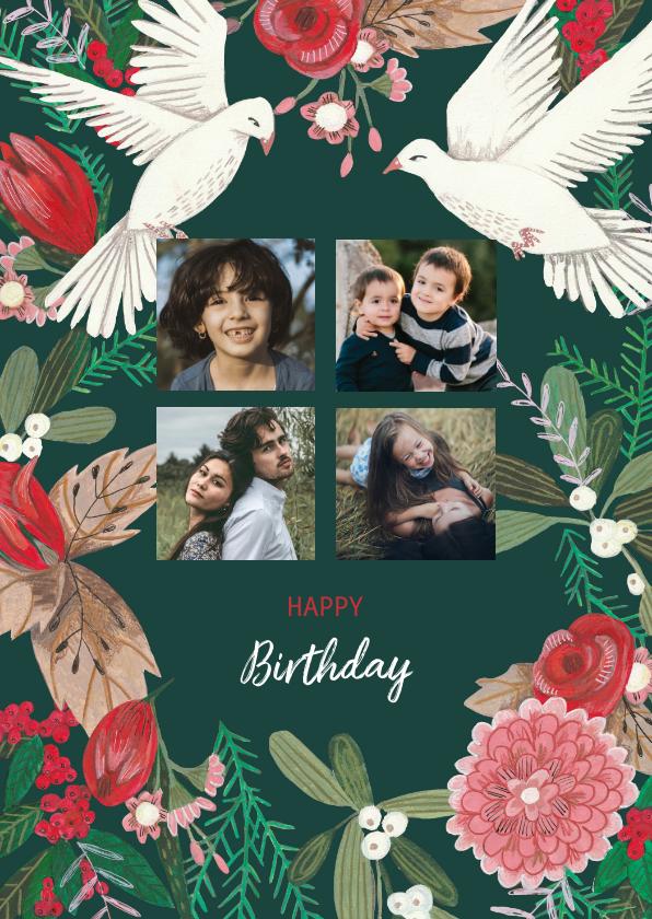 Verjaardagskaarten - Verjaardagskaart duiven en dennengroen