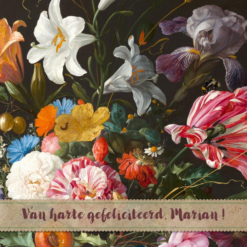 Verjaardagskaarten - Verjaardagskaart en kleurrijke bloemenschilderij