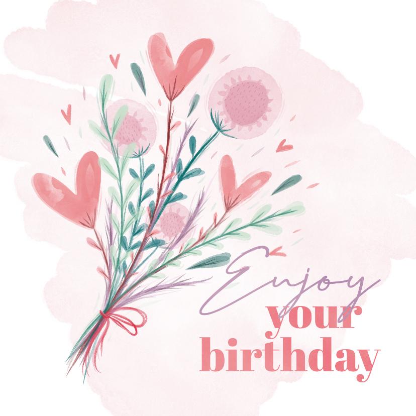 Verjaardagskaarten - Verjaardagskaart enjoy your birthday waterverf bloemen