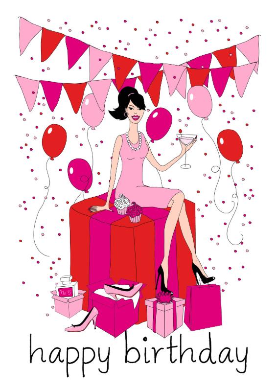 Verjaardagskaarten - Verjaardagskaart fashiongirl ballonnen confetti