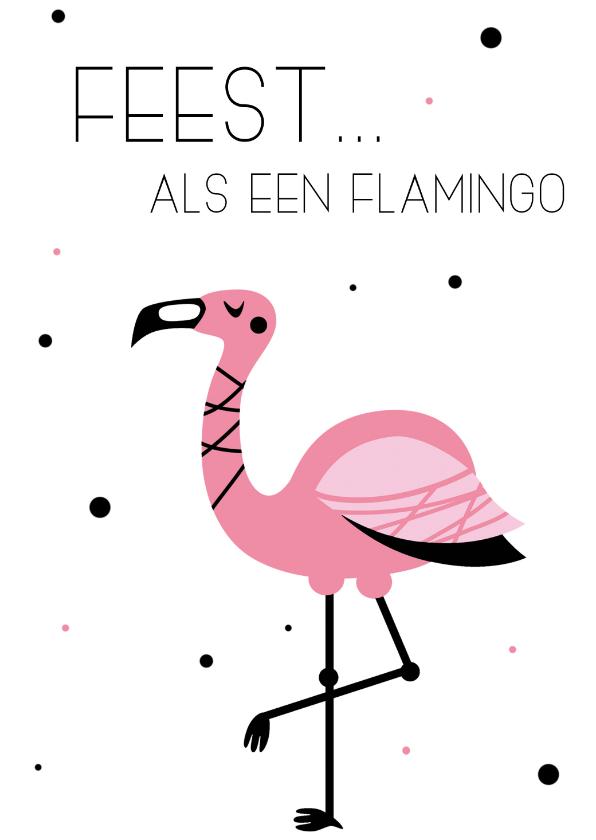 Verjaardagskaarten - Verjaardagskaart Feest... als een flamingo