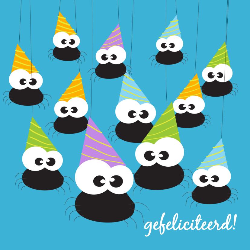 Verjaardagskaarten - Verjaardagskaart feest met spin