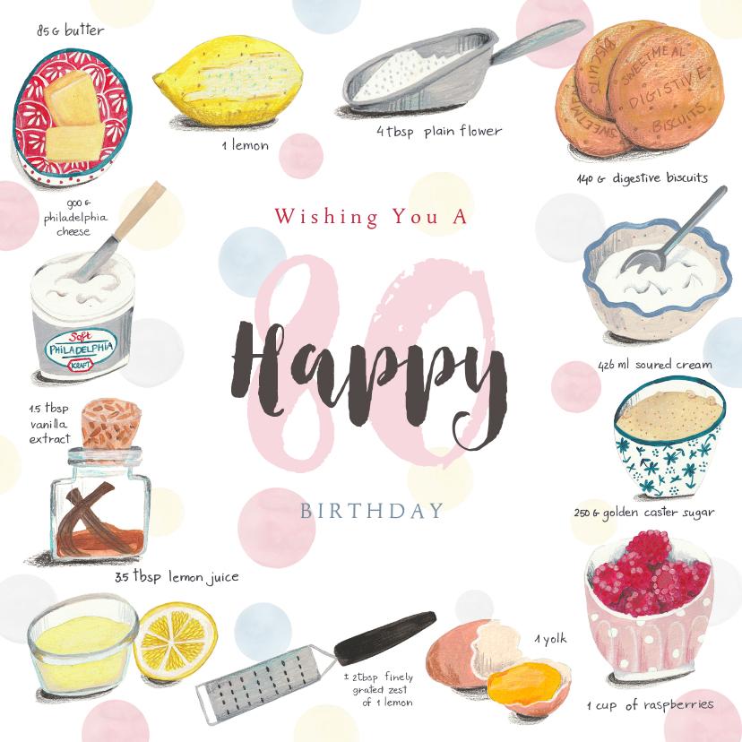 Verjaardagskaarten - Verjaardagskaart feest recept taart