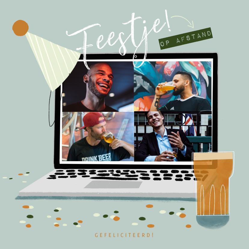 Verjaardagskaarten - Verjaardagskaart feestje laptop en bier op afstand