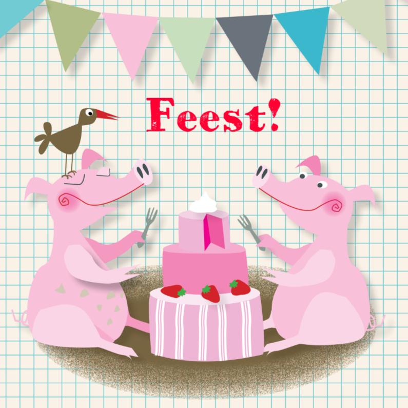 Verjaardagskaarten - Verjaardagskaart-Feestvarkens-MW
