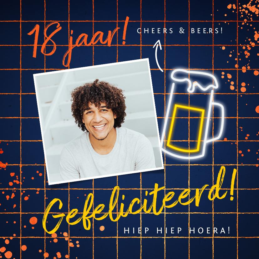 Verjaardagskaarten - verjaardagskaart felicitatie hip feestje bier neon