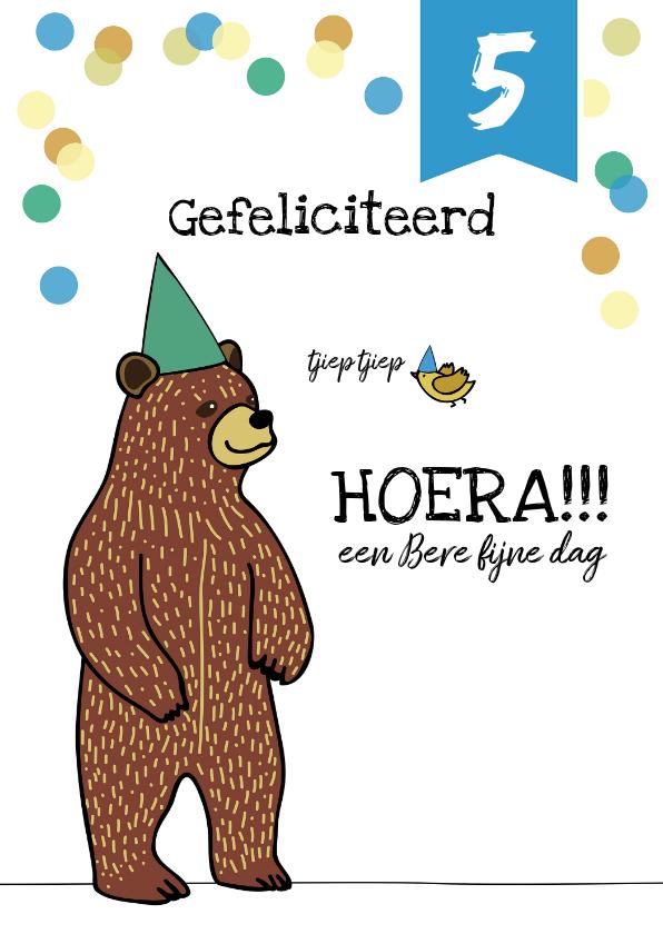 Verjaardagskaarten - Verjaardagskaart felicitatie kind jongen beer