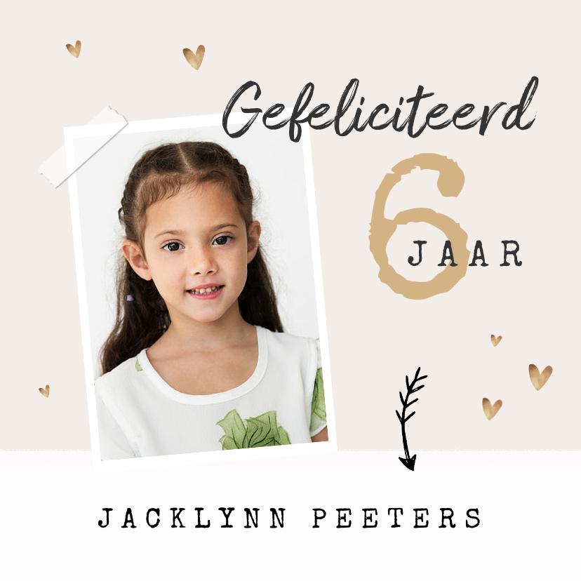 Verjaardagskaarten - verjaardagskaart felicitatie meisje hartjes goud foto